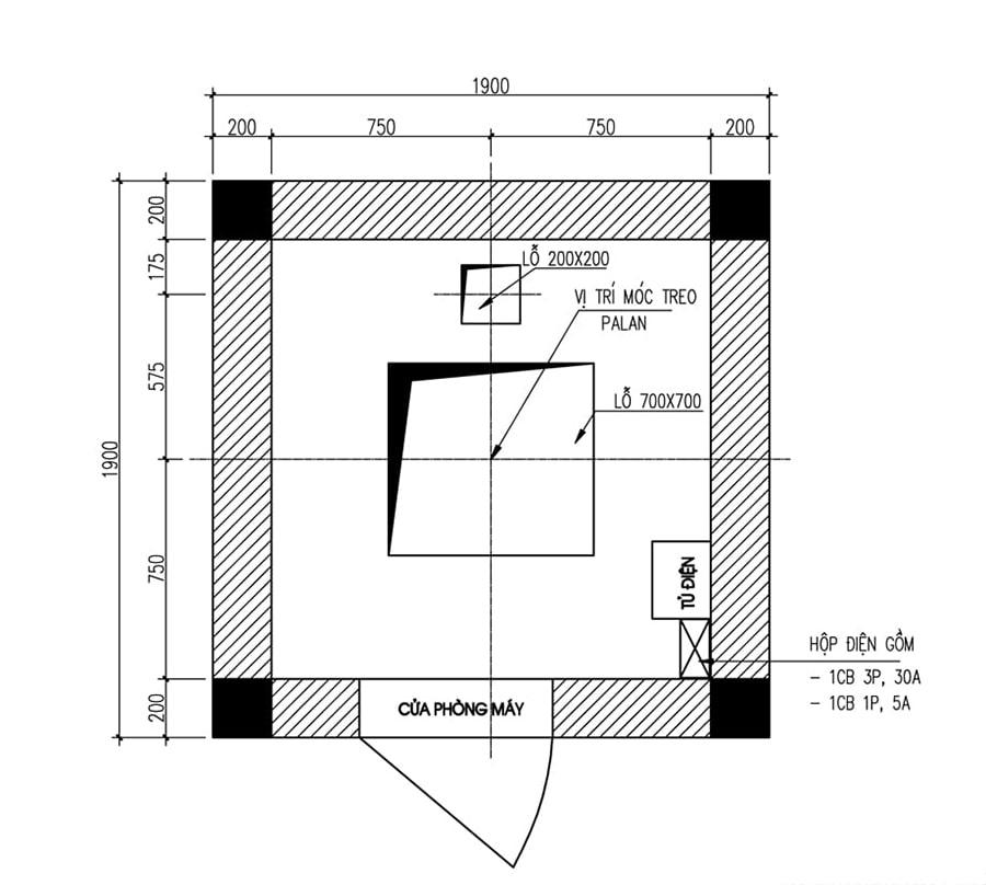 thiết kế sàn phòng máy thang máy 350kg