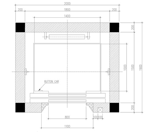 bản vẽ thiết kế hố thang máy gia đình 450kg