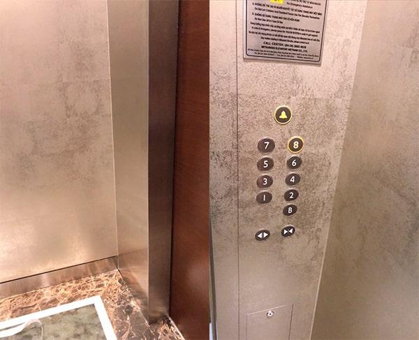 trang trí thang máy bằng giấy dán tường