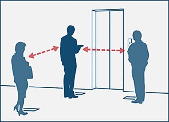 giữ khoảng cách khi đứng chờ thang máy để tránh virus covid 19
