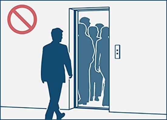 không bước vào thang máy đông người